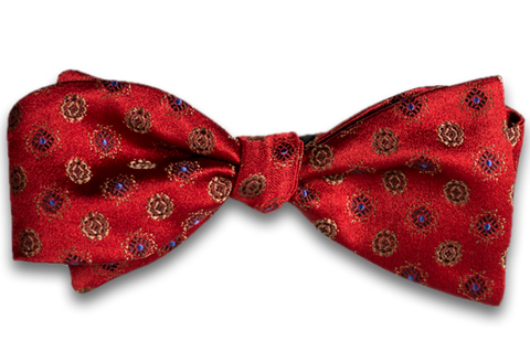Catania - Red Woven Satin Silk Self Tie Bow Tie with Gold and Blue neat