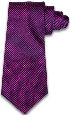 Cosimo - Magenta Pink and Navy Blue houndstooth Woven Silk
