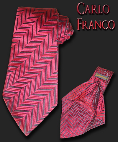 Red and black herringbone woven silk