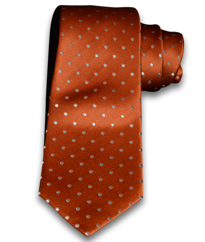 Marsala - Orange Satin Silk with Light Blue Silver Polka Dots