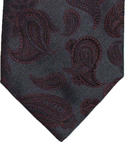 Nicolosi - Black with Burgundy Red Woven Paisley Silk