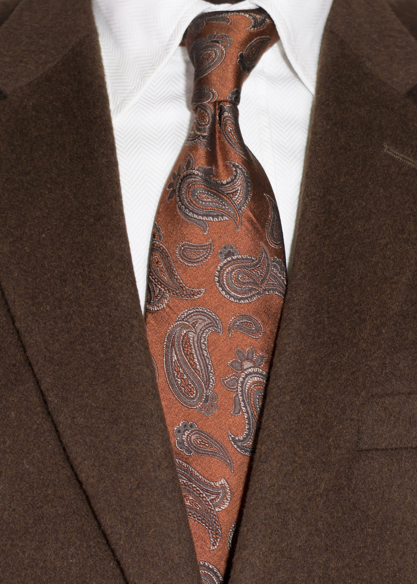 7794f1c7fbf87 Nicolosi -Copper Rust with Taupe and Black Woven Paisley Silk Tie