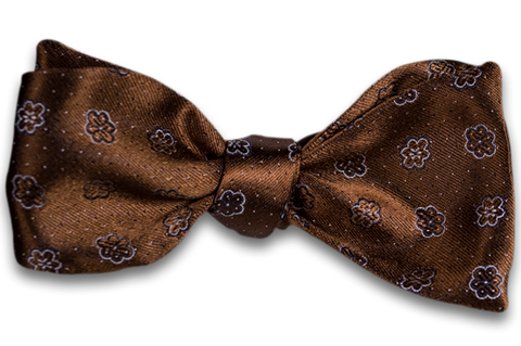 Favara - Copper Satin Silk Self Tie Bow Tie with White Floral Neat Pattern
