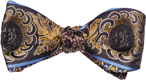 Graniti - Navy Burgandy with Gold leaf Woven Silk Bowtie