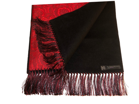 Silk-lined Cashmere Scarf - Red Paisley with Black