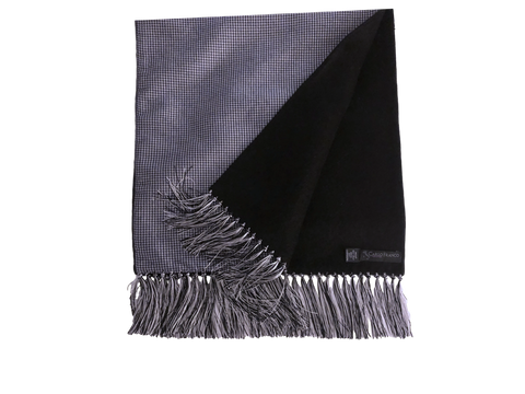 Silk-lined Cashmere Scarf - Black & White Houndstooth with Black