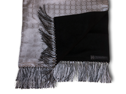 Silk-lined Cashmere Scarf - Silver Medallions with Black