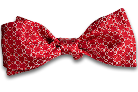 Noto - Red Silk Self Tie Bow Tie with Woven Pattern of Silver Rings