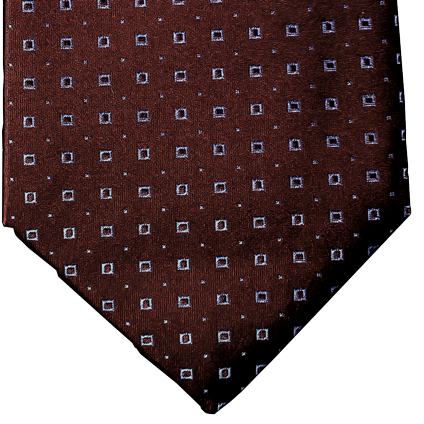 Licata - Chocolate Brown Silk with Light Blue Neat Pattern