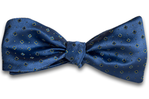 Licata - Dusty Blue Satin Silk Self Tie Bow Tie with Light Mint Green Neat Pattern