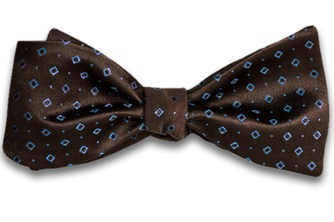 Licata - Chocolate Brown Satin Silk Self Tie Bow Tie with Light Blue Neat Pattern