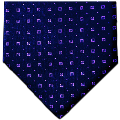 Licata - Navy Blue Satin Silk with Lavender Neat Pattern