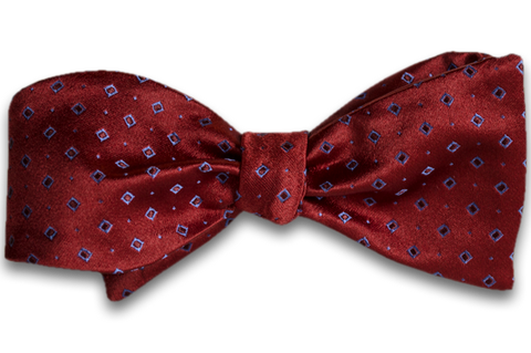 Licata - Red Satin Silk Self Tie Bow Tie with Blue Neat Pattern