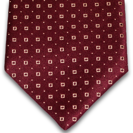 Licata - Russet Satin Silk with Gold Neat Pattern