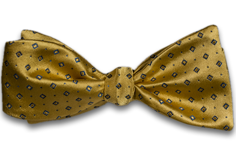 Licata - Yellow Satin Silk Self Tie Bow Tie with Blue Neat Pattern
