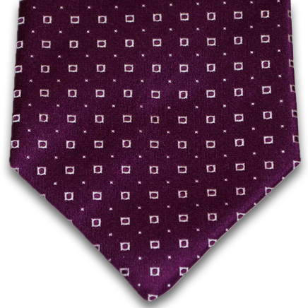 Licata - Plum Wine Satin Silk with Small Silver Neat Pattern