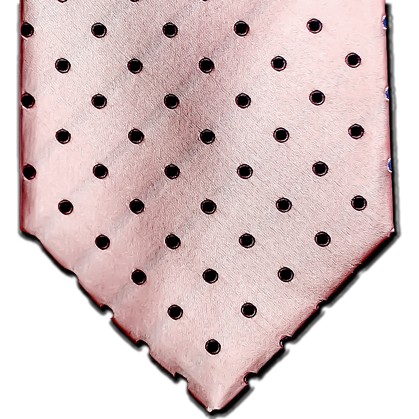 Marsala - Light Pink Satin Silk with Medium Blue Polka Dot