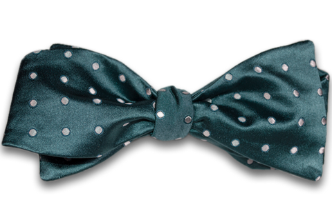 Marsala - Bottle Green Satin Silk Self Tie Bow Tie with Silver Polka Dot Pattern