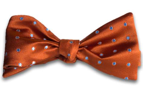 Marsala - Orange Satin Silk Self Tie Bow Tie with Light Silver Blue Polka Dot Pattern