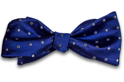 Marsala - Royal Purple Blue Satin Silk Self Tie Bow Tie with Silver White Polka Dot Pattern