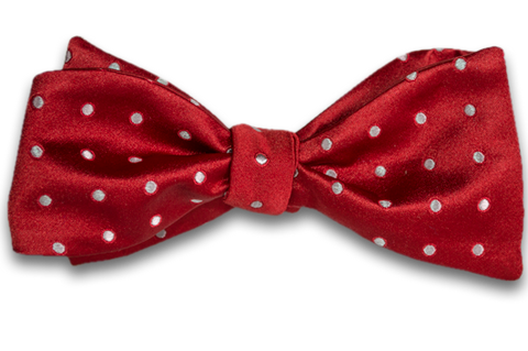 Marsala - Red Satin Silk Self Tie Bow Tie with Silver Polka Dot Pattern