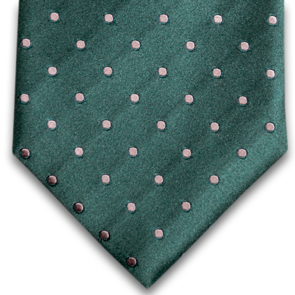 Marsala - Bottle Green Satin Silk with Silver Polka Dot