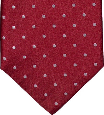 Marsala - Red Satin Silk with Silver Polka Dots