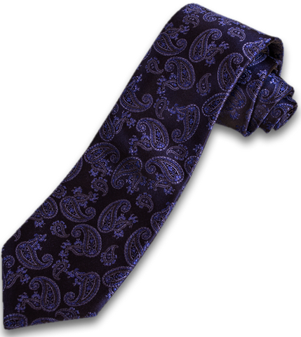 Messina - Brown with Lavender Purple Paisley Woven Silk