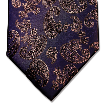 Messina - Navy Blue with Brown Paisley Woven Silk