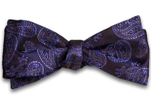 Messina - Brown Woven Silk with Lavender Purple Paisley Self Tie Bow Tie
