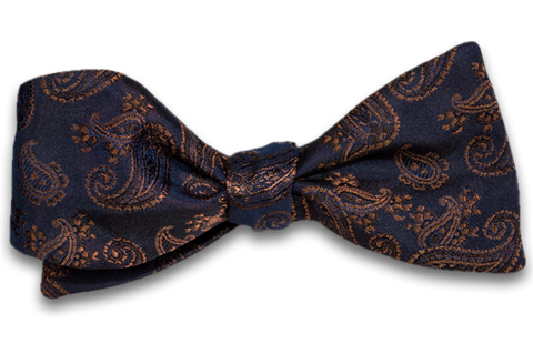 Messina - Navy Blue Woven Silk with Copper Brown Paisley Self Tie Bow Tie