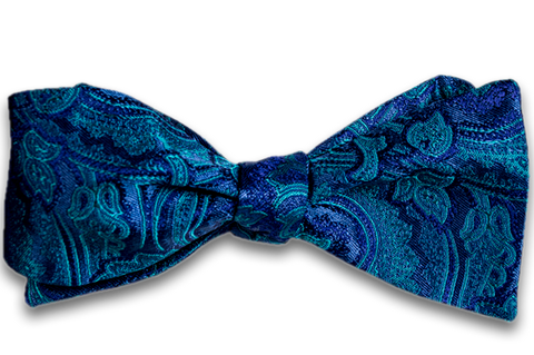 Modica - Teal Silk Self Tie Bow Tie with Woven Teal and Purple Paisley Pattern
