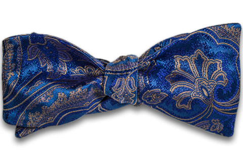 Modica - Blue Silk Self Tie Bow Tie with Blue and Gold Woven Paisley Pattern