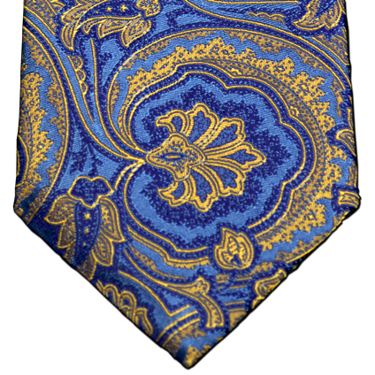 Modica - Blue and Gold Woven Paisley Silk
