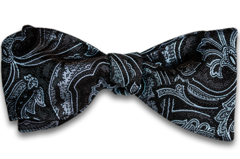 Modica - Black Silk Self Tie Bow Tie with Woven Paisley Pattern in a Light Silver Blue