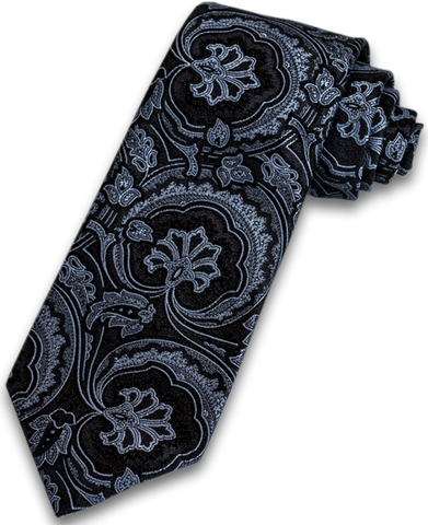 Modica - Black, White and Silver Blue Woven Paisley Silk
