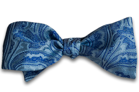 Modica - Baby Blue Silk Self Tie Bow Tie with Blue Paisley Pattern