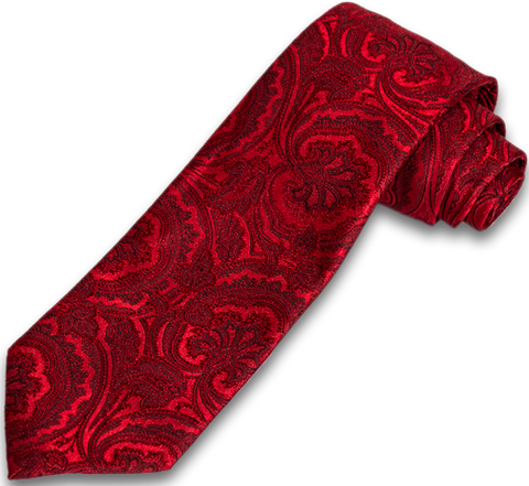 Modica - Red on Red Woven Paisley Silk