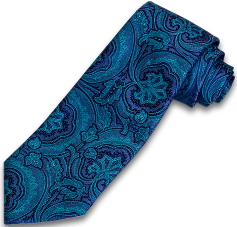 Modica - Teal and Purple Paisley Woven Silk