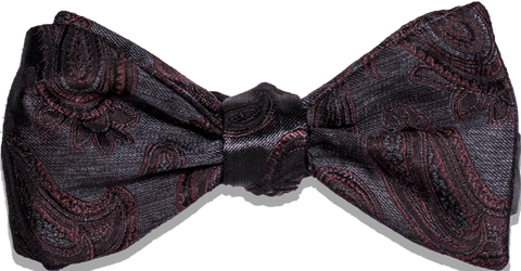 Nicolosi - Black with Burgundy Red Woven Paisley Silk Bowtie