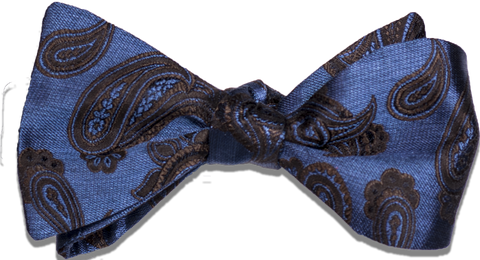 Nicolosi - Blue and Brown Woven Paisley Silk Bow Tie
