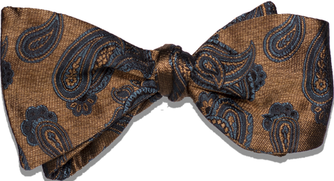 Nicolosi - Antique Gold with teal and black Woven Paisley Silk Bowtie