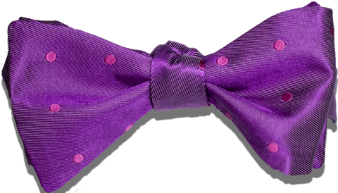 Oliveri - Fuchsia with Hot Pink Dotted Satin Silk Bow Tie