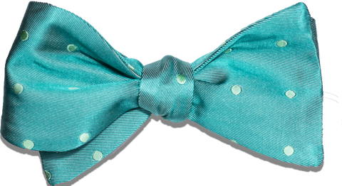 Oliveri - Kelly Green and Lime Dotted Satin Silk Bow Tie