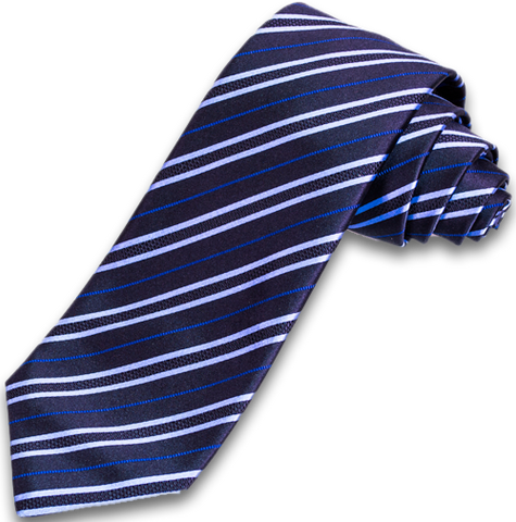 Palermo - Dark Navy Blue and Light Blue Striped Satin Mogador Silk