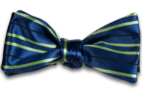 Palermo - Medium Blue with Lime Green Stripes Satin Mogador Silk Self Tie Bow Tie