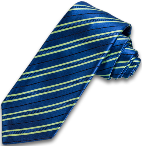 Palermo - Medium Blue with Lime Green Striped Mogador Silk Satin