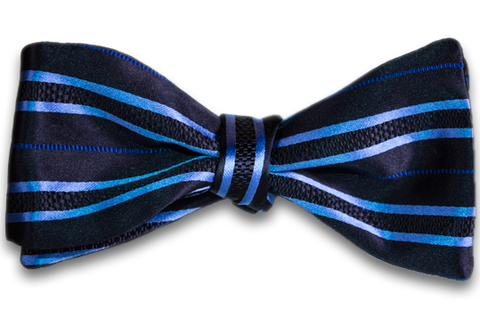 Palermo - Light Blue on Navy Blue Striped Satin Mogador Silk Self Tie Bow Tie