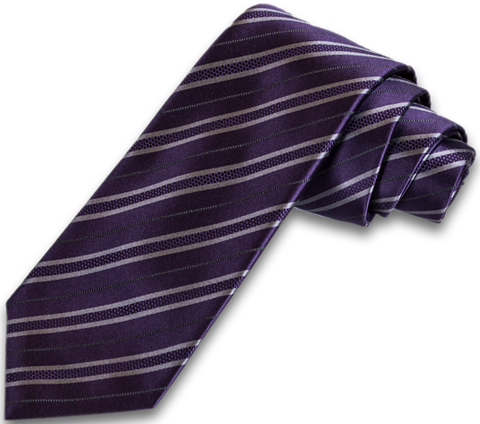 Palermo - Dusty Purple with a Silver Gray Striped Satin Mogador Silk