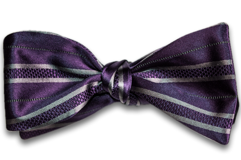 Palermo - Dusty Purple with Silver Gray Stripes Satin Mogador Silk Self Tie Bow Tie